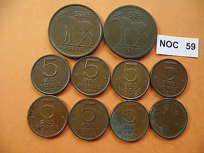 Norway (Norge). 10 Bronze Coins@ 5 Ore (1960-1979)#noc59