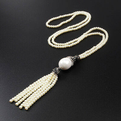 "1Pcs 27"" CZ Paved White Shell Pearl Necklace With Pearl Bead Tassel Chain HJA383"