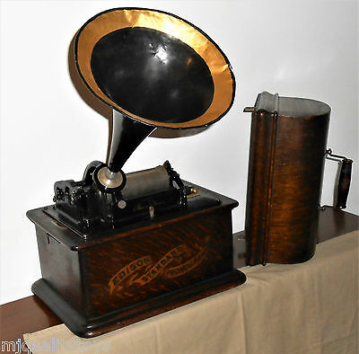"""Edison Standard 'b' Phonograph In Oak Case With Model """"c"""" Reproducer & Tin Horn"""