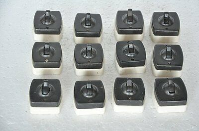 12 Pc Vintage Bakelite & Ceramic Ellora Brand Electric Switches, England