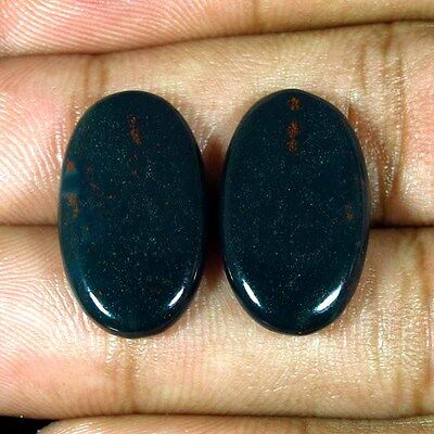 16.70 Cts. 100% Natural Bloodstone Oval Pair Matched Cabochon Gemstones