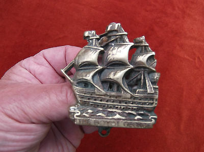 Antique Small Detailed Royal George Brass Door Knocker/brass Ship Door Decor