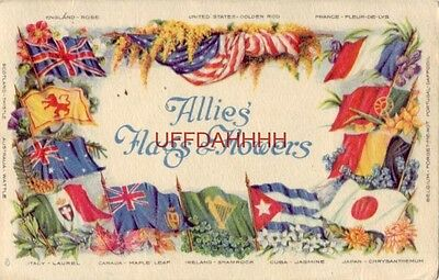 1919 Soldiers Mail - Passed Censor ALLIES FLAGS & FLOWERS - 12 COUNTRIES LISTED