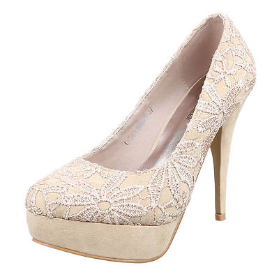 Damen Pumps Schuhe luxus sexy High Heels Plateau Stiletto b6nc Beige 38