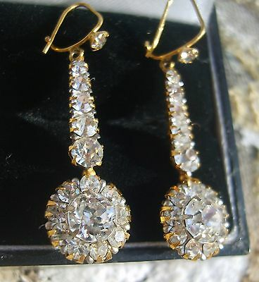 ANTIQUE EARLY VICTORIAN HALLMARKED 9ct GOLD PASTE EARRINGS - PIERCED EARS