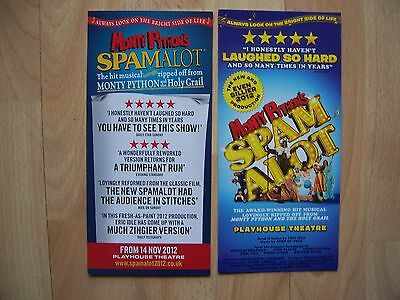 2 different flyers Spamalot Monty Python Playhouse Theatre London
