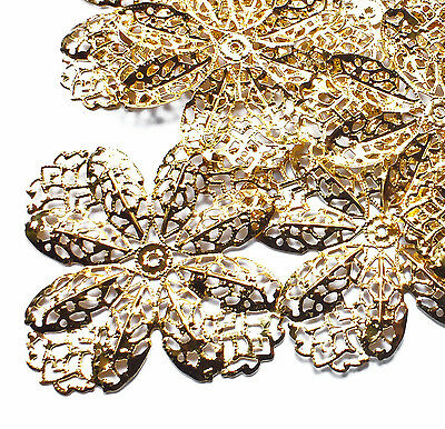 10 Large 65mm Gold Plated Filigree Flower Stamped Embellishment Charm Decoration