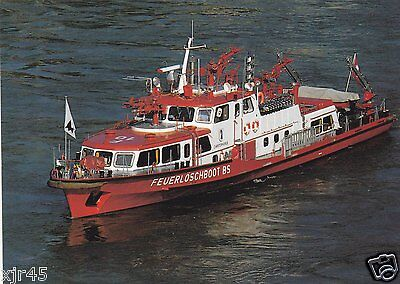 A Fire Boat with the Basel Fire Brigade in Switzerland - Fire Engine Postcard