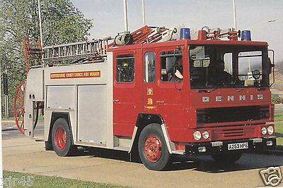 A 1984 Dennis SS135/Dennis Water Escapre with Herts FB - Fire Engine Postcard