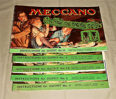 MECCANO LOT OF 5 1950's INSTRUCTIONS MANUALS TO INCLUDE No.10.9,7/8,6 & 5
