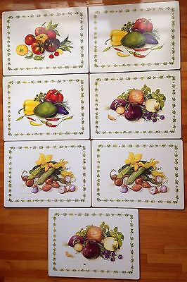 Vintage Retro LADY CLARE? Hard Placemats Alexandra Churchill Vegetable Botanical