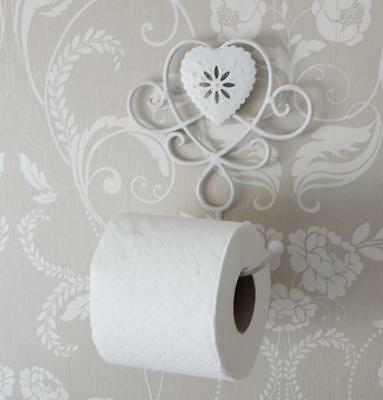 Ivory metal toilet roll holder shabby vintage chic bathroom accessories home