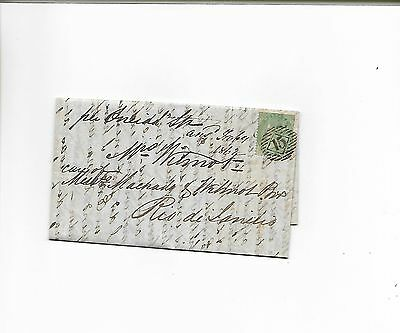 1862 Overseas Entire Letter to Rio QV 1s Green London 15 in bars & Posted Since