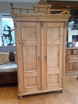 Beautiful Antique Pine Wardrobe 210cm Tall 112cm Wide Delivery Possible