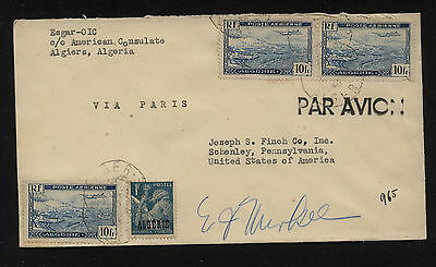 Algeria   C2 (3)  on  cover  to   US       KL0314