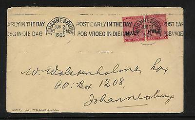 Natal  80 (2)  overprinted stamps on cover  local use 1929        KL0314