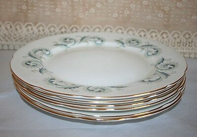 "Set of 6 Elegant Royal Standard 10"" Dinner Plates in ""Garland"" Pattern"