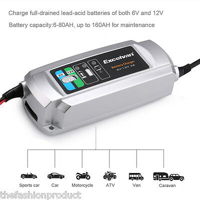 6V/12V 3-Stage Electronic Smart RV Car Battery Fast Trickle Charger Maintainer