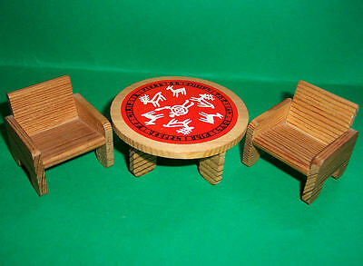 VINTAGE 1970's LUNDBY DOLLS HOUSE CHILDRENS FURNITURE TABLE & CHAIRS