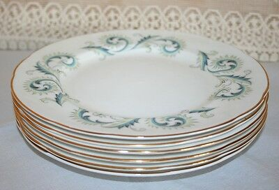 "Set of 6 Elegant Royal Standard 8"" Salad / Breakfast Plates in ""Garland"" Pattern"