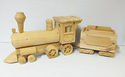 A Wonderful Large Hand Made Solid Wooden Train Engine & Coal Wagon