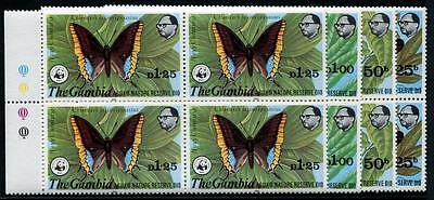 GAMBIA Sc.# 404-07 W.W.F. Butterfly Stamp Blocks