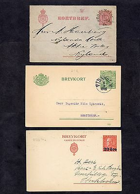 1890-1923.SWEDEN. 2xOLD POSTAL STATIONERY CARDS AND 1xOLD P.S LETTER CARD.USED.