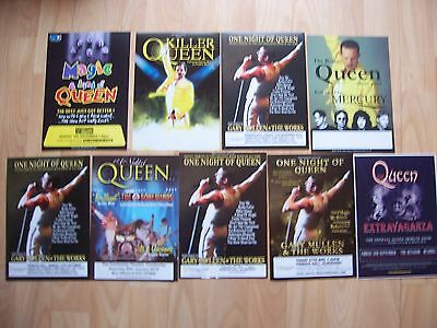 9 different flyers Queen tribute concerts