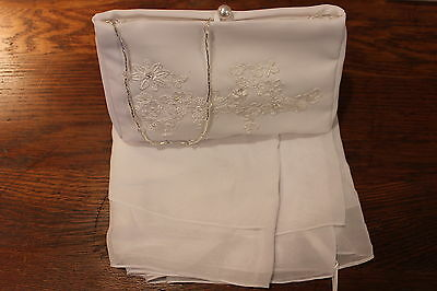 NEW!  White chiffon embroidered floral bridal purse/silver beading, white shawl