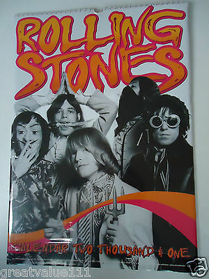 The Rolling Stones Calendar 2001 Original Vintage 15 Year Old Rare Valuable Gem!