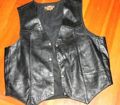 Mens Harley Davidson Leather Vest XL MADE IN THE USA