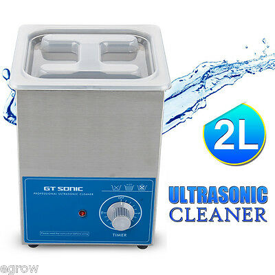 New Stainless Steel 2L Liter Industry Heated Ultrasonic Cleaner Heater w/Timer