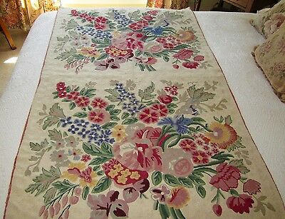 Vintage Crewel Chain Stitch Embroidered Shabby Chic Cottage Floral Wall Hanging