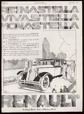 1929 Renault car Rene Vincent art vintage French print ad