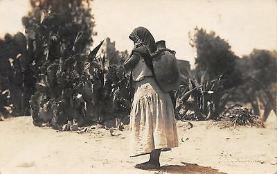 OC21 Mexico postcard, woman carrying water jug on back, real photo, RPPC