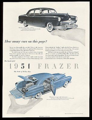 1951 Paul Rand art Kaiser Frazer Vagabond and 4-door car vintage print ad