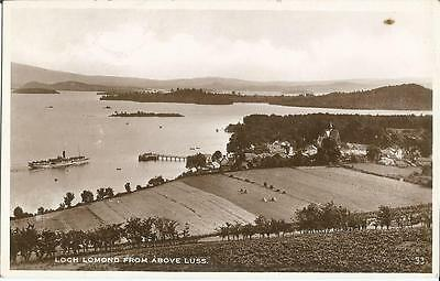 Loch Lomond from above Luss sepia postcard Excel series