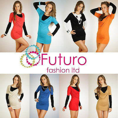Womens Two Partial Dress Tunic Style Cowl Neck Long Sleeve Size 8-12 6010