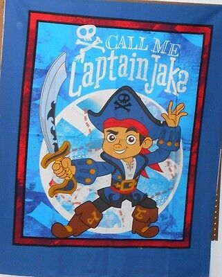 """1 Disney Jake in Neverland """"Captain Jake"""" Wallhanging/Lap Quilt Panel  Fabric"""