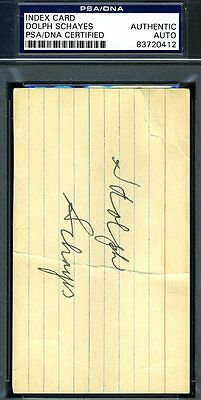 Dolph Schayes Signed Psa/dna Authenticated 3X5 Index Card Autograph