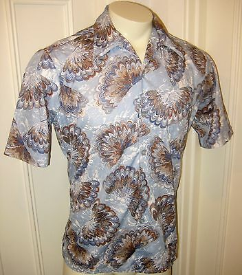 Vtg 60s 70s Oasis Blue Mens LARGE Print MOD Disco POLYESTER button S/S shirt L