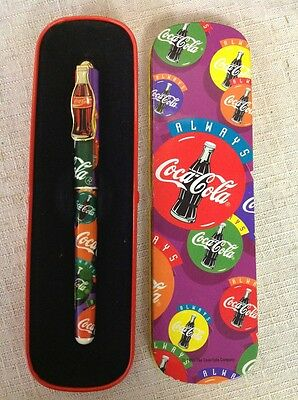 Free Shipping!! Vintage Coca Cola 1995 Pen in Tin Metal Case