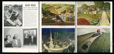 1943 Grant Wood photo and 10 color paintings vintage print article