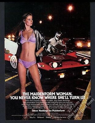 1981 Maidenform lingerie purple bra panty racetrack woman photo vintage print ad