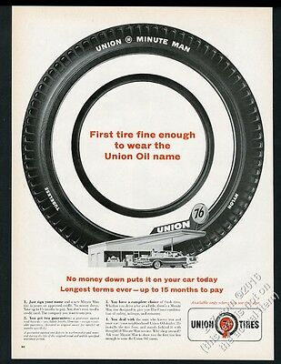1961 Union 76 gas service station Minute Man tire photo vintage print ad