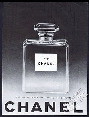 1962 Chanel No.5 perfume large classic bottle photo vintage print ad