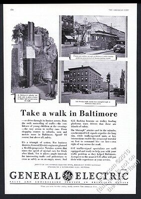 1930 General Electric traffic signal stop light Baltimore 3 photo vintage ad