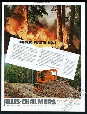1951 Allis-Chalmers crawler tractor bulldozer forest fire photo vintage print ad