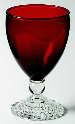 Anchor Hocking BUBBLE FOOT RUBY Water Goblet 5684