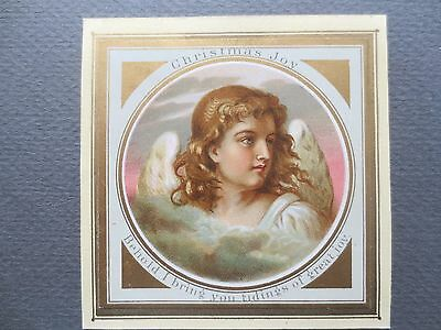 ANTIQUE Christmas Card Beautiful Angel Tidings of Great Joy Victorian 1880s